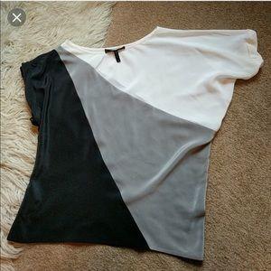 BCBG Max Azria Silk Colorblock Blouse M $128